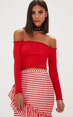 Red Frill Edge Crop TopWe are vibin' this crop top this season. Featuring a red ribbed fabric wit. Bardot Crop Top, Crop Top Outfits, Beautiful Outfits, Fashion Outfits, Crop Tops, Clothes For Women, Red, Uk Online, Ribbed Fabric