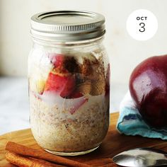 Apple Cinnamon Overnight Oats  INGREDIENTS: • 1⁄2 Cup Quaker® Oats (quick or old fashioned, uncooked) Buy Now • 1⁄2 Cup low-fat milk • 1⁄4 Cup low-fat yogurt • 1⁄2 Cup apple, chopped • 1⁄8 Teaspoon(s) cinnamon • 1 Teaspoon honey • 1 Teaspoon chia...