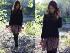 H&M Black Knitted Sweater, Thriftstore Thrifted Burgundy Floral Chiffon Dress, Isabel Marant Dicker Boots