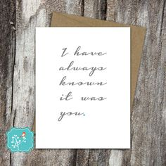 Greeting Card, I have always known it was you, cute card, birthday, I love you, Anniversary, Just for fun card - Just because greeting card by AFlairForPaper on Etsy