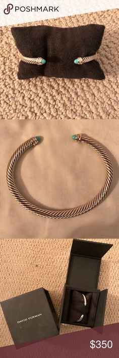 David Yurman Cable Classics Bracelet Sterling silver 5mm bracelet with turquoise gemstones and pavé diamonds   New in the box- never worn! David Yurman Jewelry Bracelets
