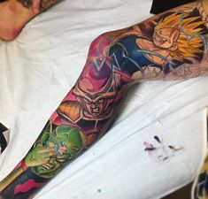 Dragon Ball Z Tattoo Sleeve by Derek Turcotte - Anime Tattoos, Leg Tattoos, Body Art Tattoos, Tattoos For Guys, Sleeve Tattoos, Buddha Tattoo Design, Forearm Tattoo Design, Dbz, Dragon Ball Z