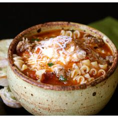 Lasagna Soup- This was awesome!  Definitely on my to-make-again list.   What I did differently: Added another can of fire roasted tomato; Cut down on the chicken stock and made it a full two lbs of sausage.