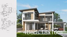 Home design plan with 4 bedrooms. Two-story house Modern Contemporary style Lay out the building layout So that every room can ventilate well. Two Story House Plans, Two Story Homes, Building Layout, 4 Bedroom House Plans, Pantry Design, Architectural Design House Plans, Home Design Plans, Little Houses, Minimalist Home