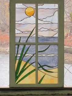 Items similar to Stained Glass Beach Scene in Shabby Chic Vintage Frame on Etsy Faux Stained Glass, Stained Glass Lamps, Stained Glass Designs, Stained Glass Panels, Stained Glass Projects, Stained Glass Patterns, Leaded Glass, Mosaic Art, Mosaic Glass