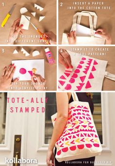 .:* L - TOTE-ally Stamped Tote Bag. Love the pink and orange.| 10 Simple Ways To Upgrade A Basic Tote Bag
