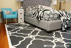 #BedroomRugs Hardwood Floors, Flooring, Coastal Rugs, Trellis Rug, Master Room, Wood Beds, Rugs Usa, Room Tour, Floor Rugs