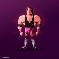 Bret 'The Hitman' Hart WWE Superstar Illustration by James White James White, Wwe Superstars, Wwe Party, Hitman Hart, Wwe World, Retro Art, Martial Arts, Cool Pictures, Character Design