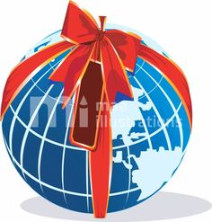 Illustration of world is decorated with the ribbon