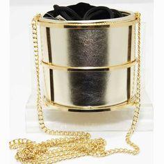 Tigerstars l $33.00 Gold Cylindrical Bucket Shoulder Bag