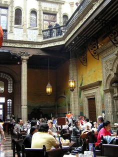 "Casa de los Azulejos (Sanborns), Mexico City, Mexico — is an 18th century treasure which now houses a restaurant chain which allows everyone to enjoy eating or drinking something in this fabulous view of the old ""Hacienda"" interior of the homes...one of my favorite places in the city...."