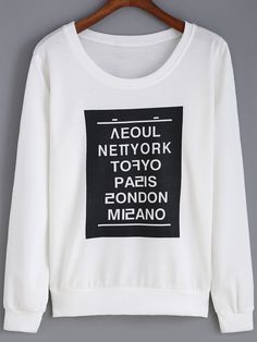 Shop White Round Neck Letters Print Sweatshirt online. SheIn offers White Round Neck Letters Print Sweatshirt & more to fit your fashionable needs.