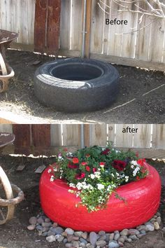 Gardening Tomato Did this project today! We had these old tires sitting for years on the side of the house! spray painted white, then spray painted bright red, filled with potting soil and flowers. I think I'll paint my tomato cages to match! Tire Garden, Garden Planters, Garden Art, Garden Design, Old Tire Planters, Outdoor Projects, Garden Projects, Diy Projects, Tire Craft