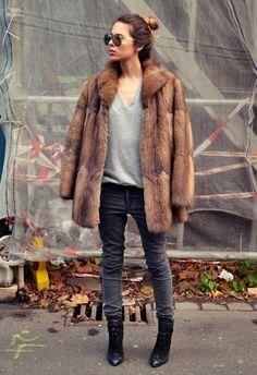 Fur: Vintage. Shirt: Zara Men. Pants: Cheap Monday. Shoes: Zara...