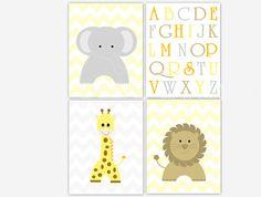 Nursery Wall Art Grey Gray Yellow Chevron ABC's by dezignerheart, $30.00