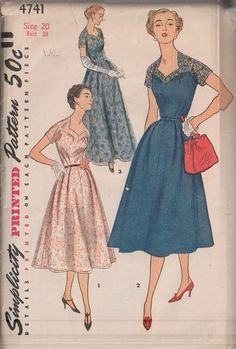 MOMSPatterns Vintage Sewing Patterns - Simplicity 4741 Vintage 50's Sewing Pattern INCREDIBLE Lucy Sweetheart Neck Lace Evening Party Dress, Mother of the Bride Floor Length Gala Evening Ball Gown
