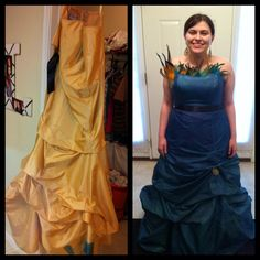 Upcycled prom dress. We bought the dress at a fundraiser for $25. We used tulip fabric spray in blueberry instead of dye, because the dress is 100% polyester which is difficult to dye. It only took 6oz. of the paint to coat the dress well. After the dress dried (which is quickly with a hair dryer) we sprayed it with gold glitter fabric paint. Then we pinned the skirt up some, and glued the feathers and brooch onto the dress with a strong fabric glue. Entire project took ab 6 hours.