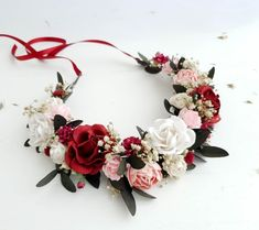 Items similar to Delicate white rose flower crown headband/ wedding bridesmaid flower girl engagement bridal woodland floral wreath/ rustic hair accessories on Etsy Wedding Bridesmaid Flowers, Flower Headpiece Wedding, Bridal Hair Flowers, Flower Crown Wedding, Wedding Flowers, Boho Wedding, Bouquet Wedding, Bridesmaid Gifts, Baby Flower Crown