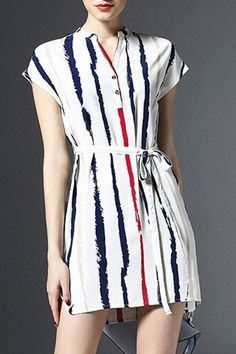 Women's Chic V Neck Partial Sleeve Striped Lace Up Mini Dress