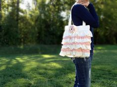 Ruffles and Pink Lace Purse by happy4ever on Etsy