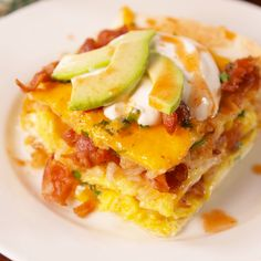 Dive into layers of your favorite breakfast foods.