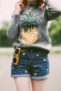 Romwe pineapple sweater & banana embroidered denim shorts, plus yellow sunglass, by Rebecca from A Clothes Horse Pineapple Clothes, Clothes Horse, Spring Outfits, What To Wear, Style Me, Flamingo, Cute Outfits, Style Inspiration, Fruit Salad