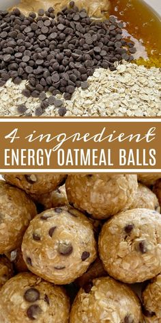 Energy Oatmeal Balls require only 4 ingredients Quick oats peanut butter honey and mini chocolate chips are all you need for these perfect snack-sized energy oatmeal balls snackrecipes easyrecipes recipeoftheday energyballs oatmeal Baking Recipes, Snack Recipes, Dessert Recipes, Oats Recipes, Snacks Ideas, Flour Recipes, Recipes Dinner, Smoothie Recipes, Sweets