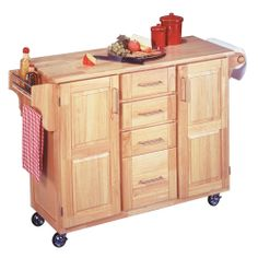 Breakfast Bar Kitchen Cart with Natural Wood Top | Overstock.com