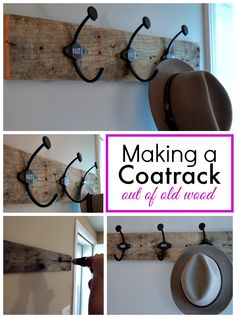 Make a coatrack out of an old piece of wood and numbered hooks. Easy. www.chatfieldcourt.com #diy