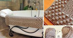 Crochet Bath Mat (Free pattern) Bath Linens, Bath Rugs, Crochet Home, Crochet Rugs, Crochet Flats, Purple Bathrooms, Fluffy Rug, Bathroom Rug Sets, Crochet Designs