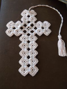 Hardanger Cross Bookmark Pink on White with by ThisAndThat4UAndMe