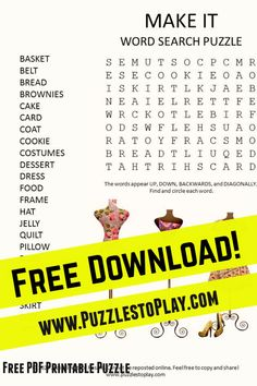 The Make it word search is a printable puzzle revealing all the things you can make yourself. the word game reminds us that some of the best gifts we receive are homemade!