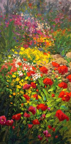 Robert E Wood - Scarlet Poppies 30x15