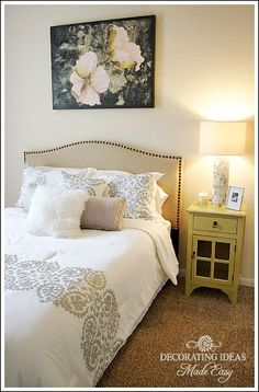 Furniture placement - nightstand on right of bed. Picture above bed.