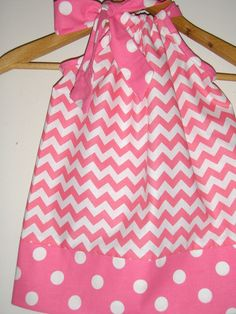 Pink Chevron pillowcase dress and dots. Riley Blake chevron fabric size large and xlarge spring summer. $16.99, via Etsy.