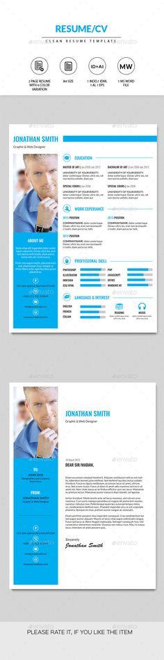 Resume/CV Template (InDesign INDD, AI Illustrator, CS, 210x297, bio data, blue, clean resume, cv, Fresh resume, job application, job cv, Minimal Resume, print template, resume)