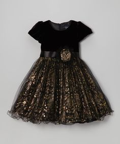 Take a look at this Black & Gold Velvet Dress - Toddler & Girls on zulily today!