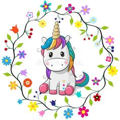 Cartoon Unicorn in a flowers frame. Cute Cartoon Unicorn in a flowers frame on a white background stock illustration Unicorn Drawing, Cartoon Unicorn, Funny Unicorn, Unicorn Horse, Unicorn Art, Unicorn Decor, Unicorn Bedroom, Cartoon Mignon, Unicornios Wallpaper