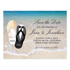 "Beach Wedding Save the Date Cards Beach Blonde ""Mr. and Mrs."" Wedding Save the Date Postcard"
