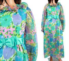 SALE Floral Maxi Dress Sz M Vintage 60s 70s Blue by HepCatClothes