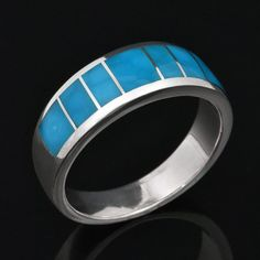 Birdseye turquoise wedding ring in sterling silver by Hileman Silver Jewelry.  Beautiful blue turquoise from Kingman, AZ. #turquoise #turquoisering
