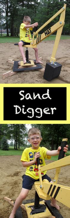 Sand Digger: Made From Recycled Pallets – Spielzeug Wood Projects For Kids, Wood Projects For Beginners, Woodworking Projects For Kids, Pallet Projects, Diy Projects, Backyard For Kids, Diy For Kids, Backyard Toys, Recycled Pallets