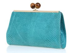 Turquoise Leather Clutch / Evening Bag / by EllenRubenBagsShoes, $199.00