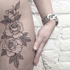 floral outline tattoo More