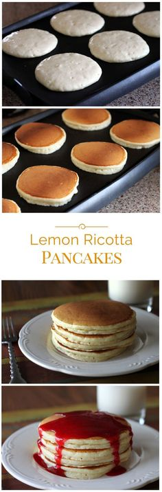 Lemon ricotta pancakes drizzled with raspberry syrup. The ricotta adds a rich, fluffy texture and beaten egg whites makes them light as air.