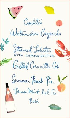 Love this summer watercolor menu. Wedding Stationary, Wedding Invitations, Menu Illustration, Le Diner, Menu Cards, Wedding Paper, Wedding Art, Dream Wedding, Menu Design