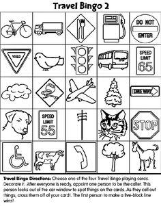 Travel Bingo #2 coloring page