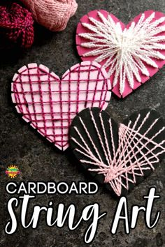 Cardboard Heart String Art - - Cardboard Heart String Art Valentine's This cardboard heart project introduces kids to making string art designs without the use of wood, nails or tacks. All you need is a piece of cardboard and some string or fine yarn. Arts And Crafts For Adults, Easy Arts And Crafts, Winter Crafts For Kids, Arts And Crafts Projects, Art For Kids, Summer Crafts, String Art Heart, Heart Art, Art And Craft Videos