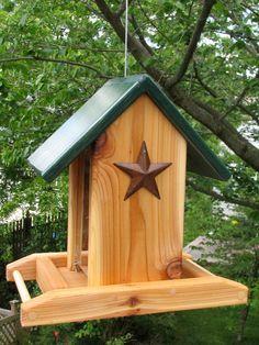 Cedar Bird Feeder Color Roof w/ Stars by NewEnglandWoodcrafts