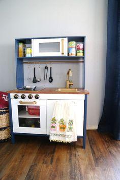 Super simple IKEA hack - making the DUKTIG play kitchen prettier with a little paint and creativity! Ikea Kids Kitchen, Diy Kitchen, Kitchen Ideas, Girls Bedroom, Bookshelf Room Divider, Ikea Duktig, Billy Ikea, Ikea Lack Shelves, Kitchen Planner
